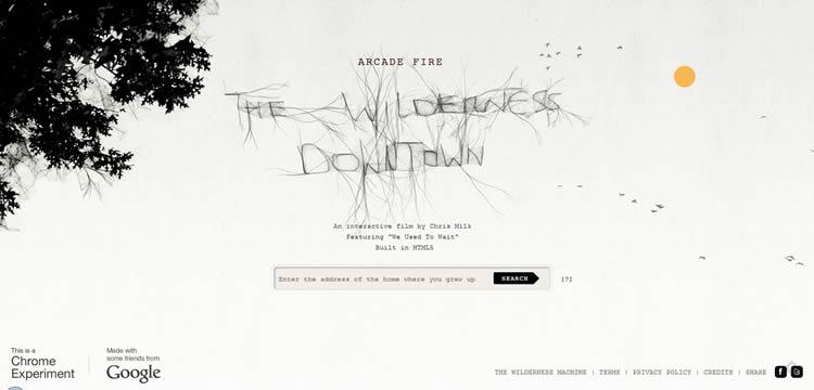 Arcade Fire: The Wilderness Downtown is an inspiring HTML5 Website