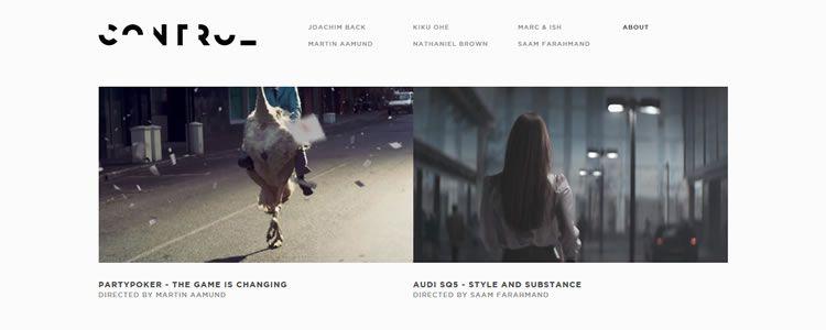 inspiration Control Films example modern minimalist web design