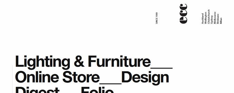 inspiration ECC Lighting & Furniture example modern minimalist web design