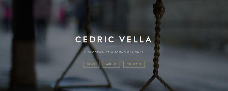 homepage of Cedric Vella inspirational example of modern minimalism in web design
