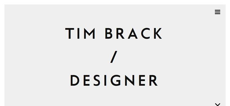 Tim Brack modern minimal web design site inspiration example