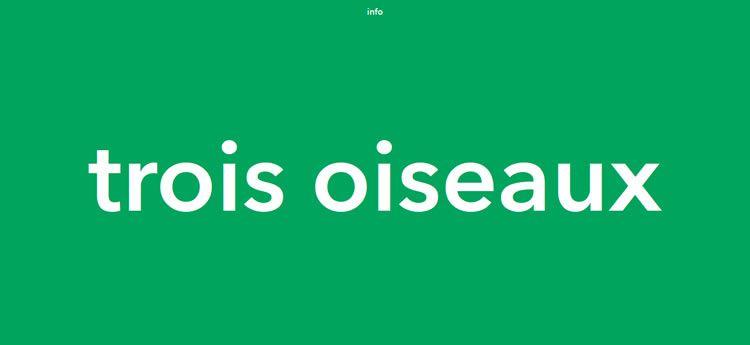 Trois Oiseaux modern minimal web design site inspiration example