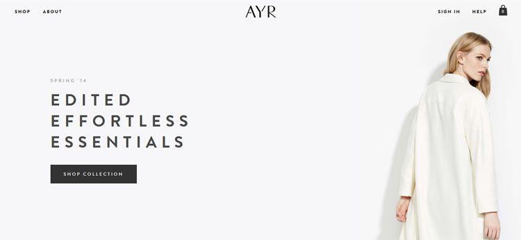 AYR modern minimal design web site inspiration example